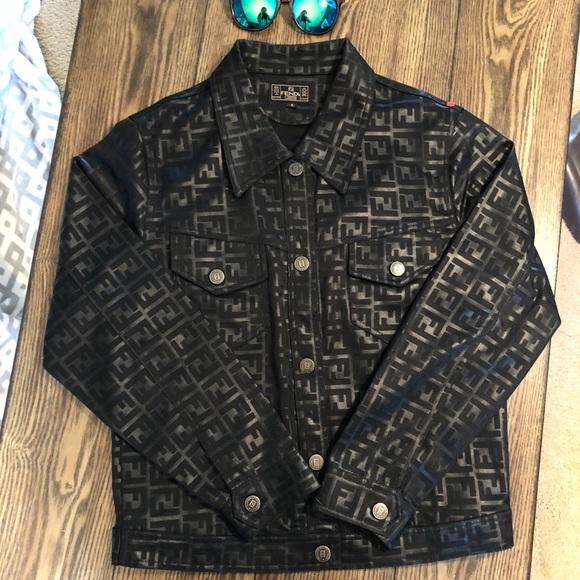 Vintage fendi Zucca Monogram black logo jacket